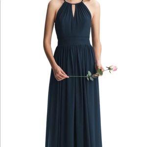 #LEVKOFF keyhole bridesmaid dress navy